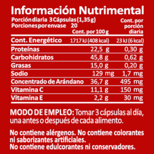 Cranberry-60caps tabla nutrimental